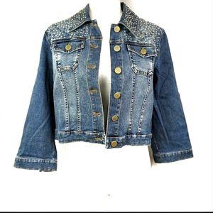 Chico's Stud & Rhinestone Denim Jacket